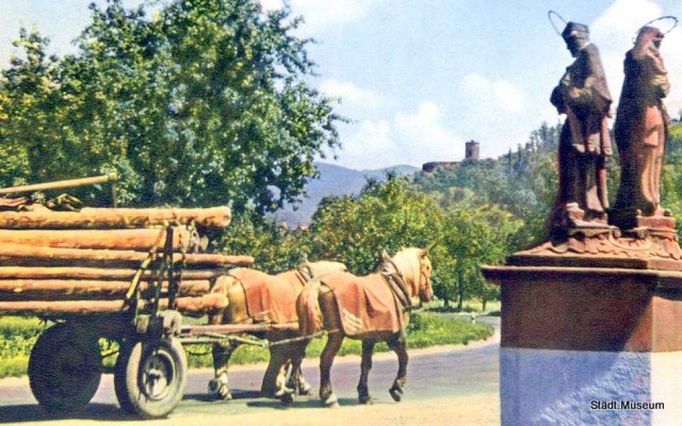 1797 01 Der Saege Entgegen 1957 Dorfheilige Pferdefuhrwerk 001
